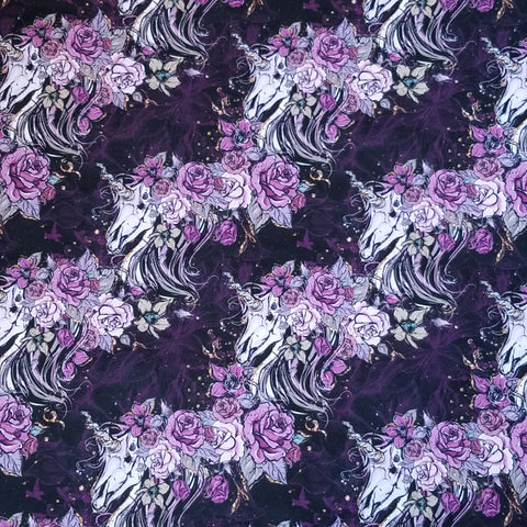 Double Brushed - DOTD Unicorn Floral Dark