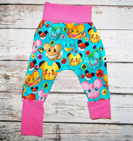 Pokeballs - Size 1 Slim - COTTON/LYCRA Harems (CUSTOM)