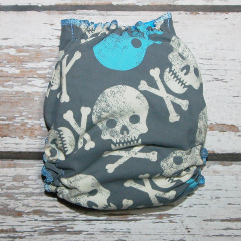 Swimmy - Skulls - blue INNER OS - Swim Diaper $21