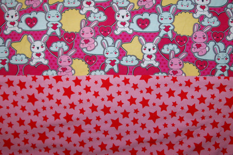 Pink Bunny and Stars combo - cl - Choose: size, inner and snaps - DAY WITH WINDPRO - Hybrid Fitted