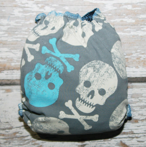 CL SW Blue and White Skulls - OS - Swim Diaper