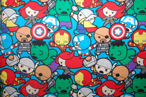 Kawaii Super Heros on Blue - woven - Choose: size, inner and snaps - DAY WITH WINDPRO - Hybrid Fitted