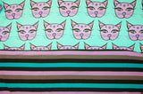 Turquoise and Purple Mystic Kitties Stripe Combo- Choose: size, inner and snaps - DAY WITH WINDPRO - Hybrid Fitted