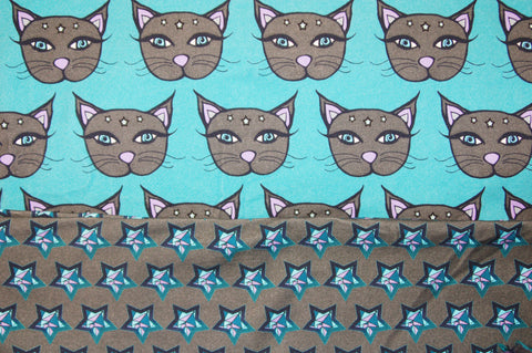 Teal and Gray Mystic Kitties Combo Stars - Choose: size, inner and snaps - DAY WITH WINDPRO - Hybrid Fitted