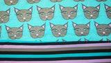 Teal and Gray Mystic Kitties Combo Stipe - Choose: size, inner and snaps - DAY WITH WINDPRO - Hybrid Fitted