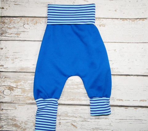 Blueberry Stripe - Size 1 Baggy -Organic Cotton Sweats and COTTON/LYCRA Harems (RTS)