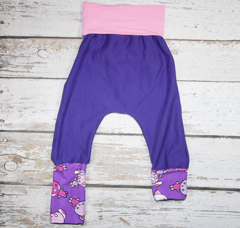 Plum Stichkins - Size 1 Slim - Organic Cotton Sweats - COTTON/LYCRA Harems (RTS)