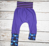 Batkins Purple - Size 1 Slim - Organic Cotton Sweats and COTTON/LYCRA Harems (RTS)