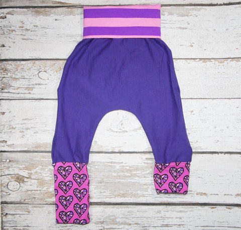 Jewell Hearts - Organic Cotton Sweats - Size 1 Slim - Organic Cotton Sweats and COTTON/LYCRA Harems (RTS)