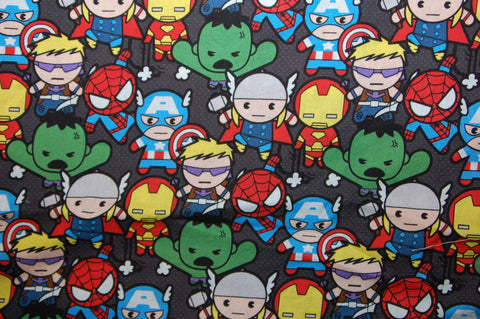 Marvel Kawaii - woven -  Custom Diaper - Choose: size, inner and snaps - DAY WITH WINDPRO - Hybrid Fitted