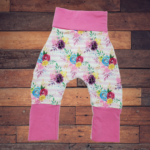 Floral Stripe - All Sizes - Harems