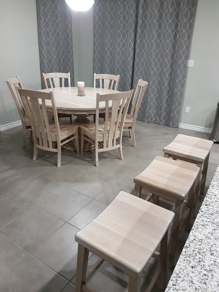 Kingsley Single Pedestal, Meridan Dining Chair and The Coby Bar Stool in Quarter Sawn White Oak
