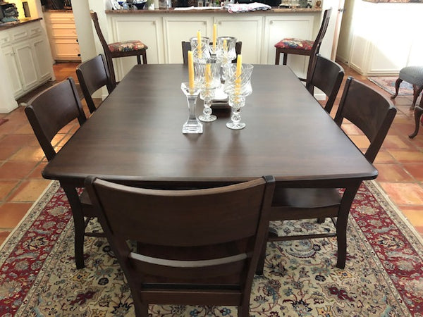 Customer Picture - Baytown Double Pedestal and Genesis Dining Chair in Walnut with a Tavern stain