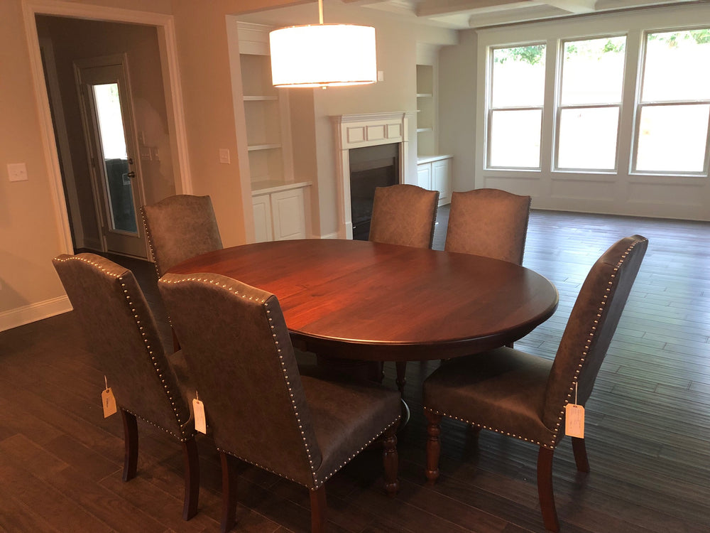 It looks amazing - Burlington Pedestal Table and the Olson Upholstered Dining Chair