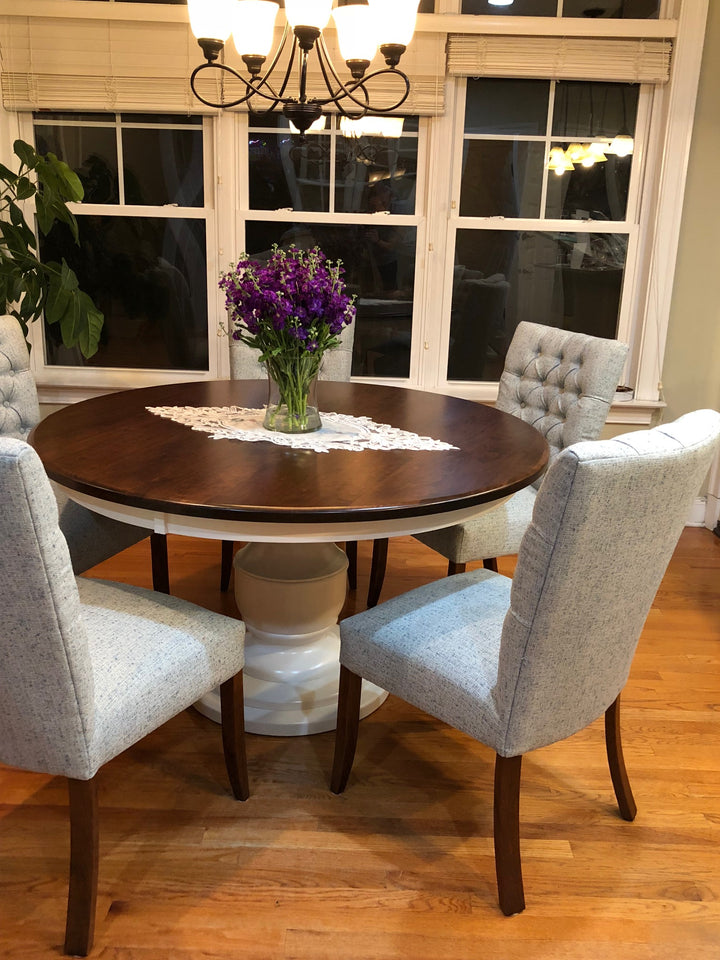 We love our new table! - Burlington Single Pedestal with the Alana Upholstered Dining Chair