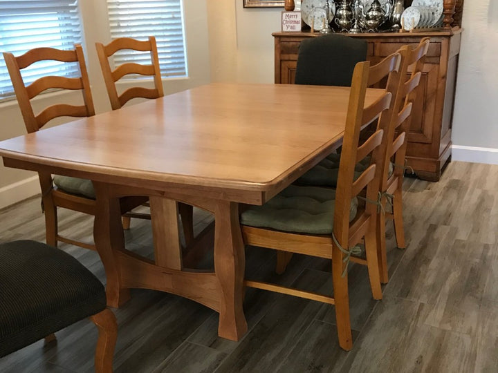 It looks great! - Reno Trestle Table in Cherry with a Natural Finish