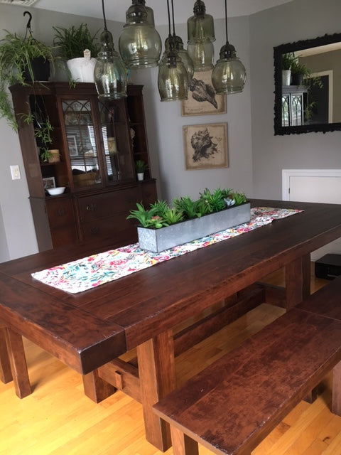 The Wellington Trestle Table with the Heidi Expandable Bench