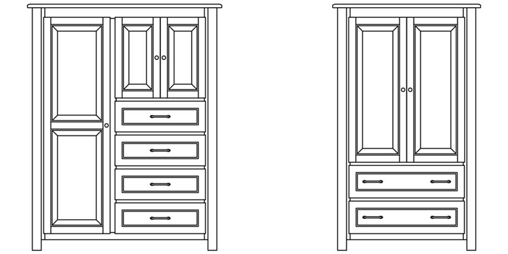 Belwright Armoire and Chifferobe Line Drawing | Home and Timber