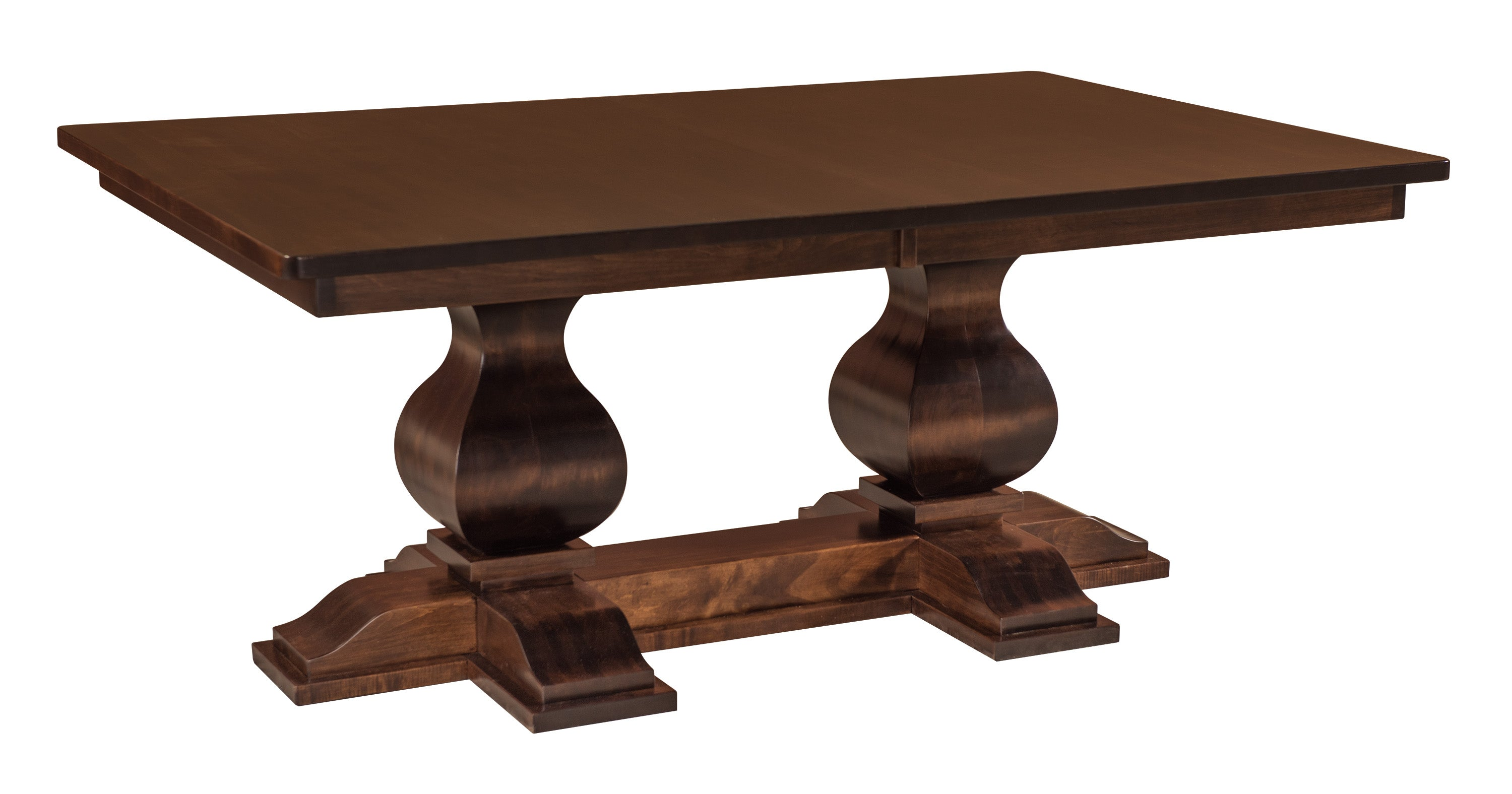 diningtables end double pedestal mocha table finish extending racetrack