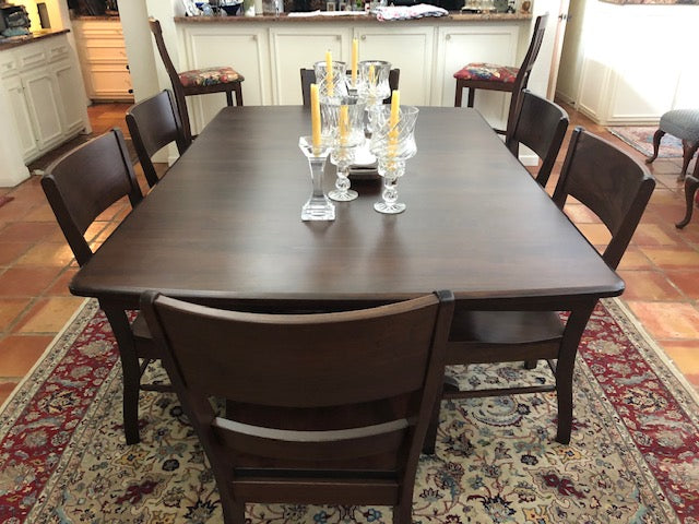Customer Photo - Baytown Double Pedestal and Genesis Dining Chair in Walnut with a Tavern Stain