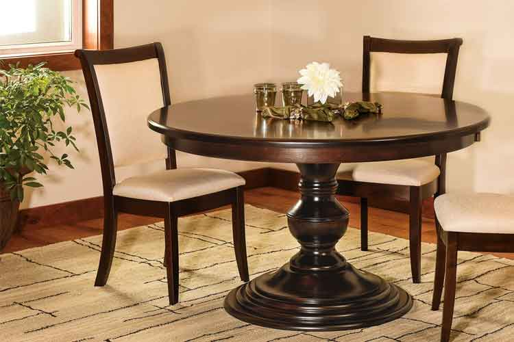 Kingsley Single Pedestal Table and the Kimberly Dining Chair