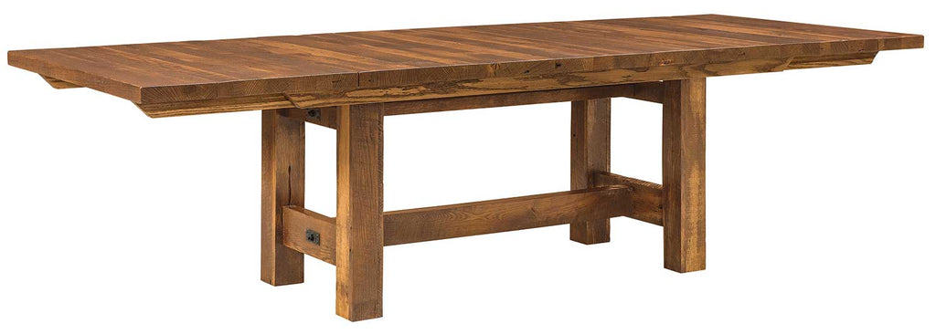 Lynchburg Reclaimed Barn Wood Trestle Table | With Leaves | Home and Timber