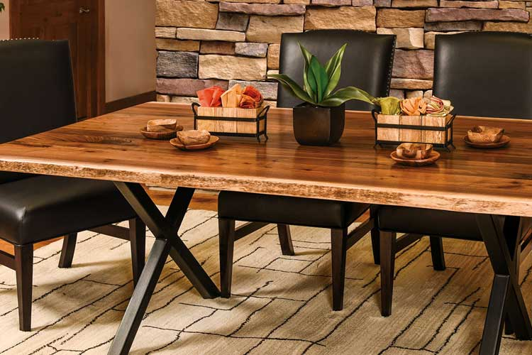 Xavier Live Edge Trestle Table in Rustic Walnut