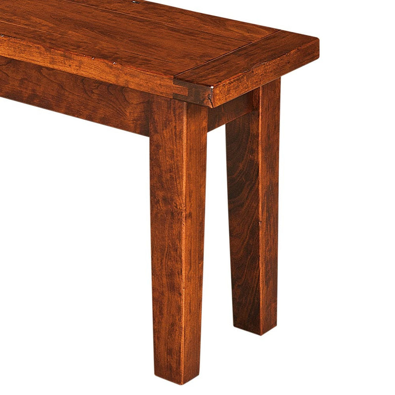 Benson Plank Top Dining Bench in Rustic Cherry by Home and Timber