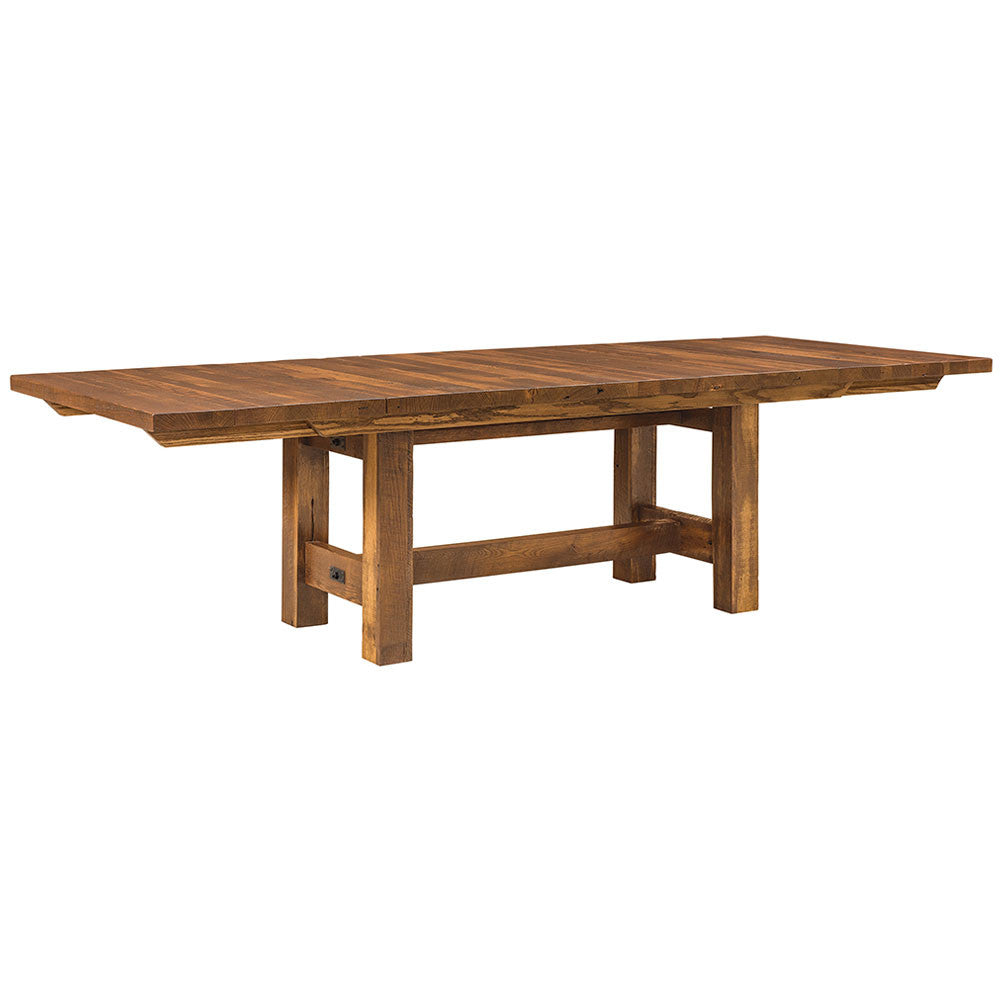 Lynchburg Reclaimed Barn Wood Trestle Table by Home and Timber | Full Table with Extensions