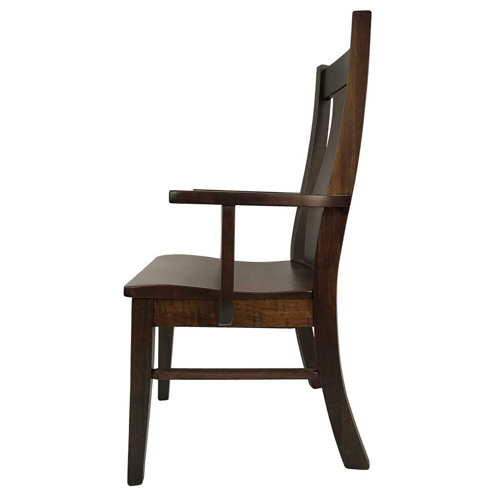 Westin Arm Chair in Walnut with a Tavern Stain Side View