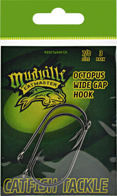 Octopus Wide Gap Hook Size Black/Nickel  Size 7/0 - 3 Ct
