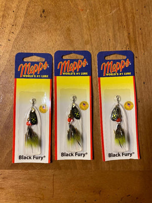 (3) Mepps Black Fury Dressed #0, 1/12 oz (inv#516)