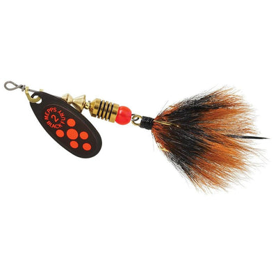 Mepps #2 Black Fluo Red Blade Gray/Org Dressed Tail 1/6 oz