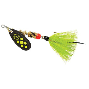 Mepps #2 Black Fury Chart. Blade Gray/Chart. Dressed Tail 1/6 oz