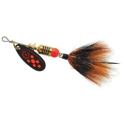 Mepps #1 Black Fury Fluo Red Blade Gray/Org Dressed Tail 1/8 oz