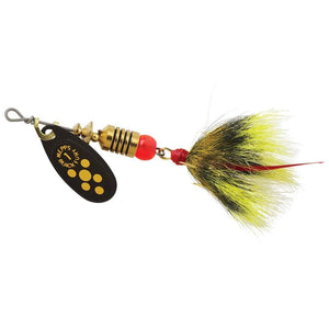 Mepps #1 Black Fury Yellow Blade Gray/Yel Dressed Tail 1/8 oz