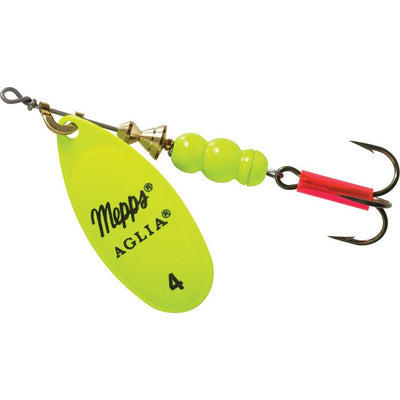 Mepps Aglia Hot Chartreuse Treble Hook 1/3 oz, #4