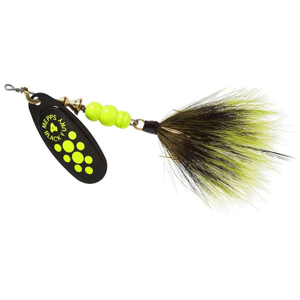 Mepps #4 Black Fury Chart Blade Gray/Chart Dressed Tail 1/3 oz