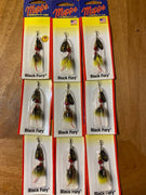 (9) Mepps Black Fury Yellow Black, Yellow Tail #0, 1/12 oz (inv#502)