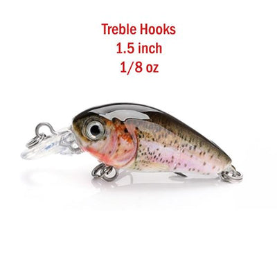 (5 ct) 3D Mini Crank Floating Rattler, 1.5 inch, 1/8 oz, 1.5 ft Dive Rainbow Trout