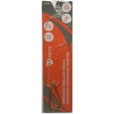 SouthBend Aberdeen Snelled Hooks Size 1/0 - 6 ct
