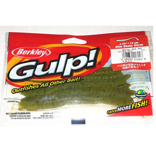 "Berkley Gulp! 5"" Shaky Worm Watermelon Red Glitter Worms 10 ct Sealed Bag"