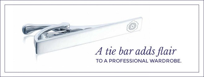 A tie bar adds flair to a professional wardrobe.