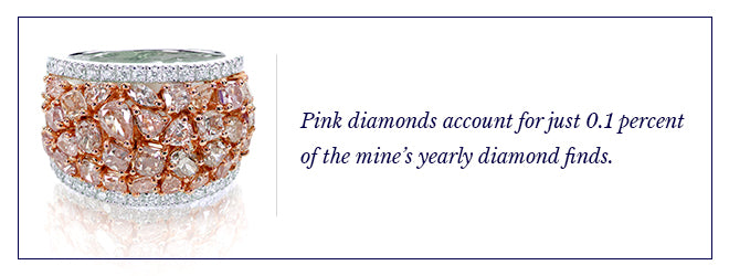 Pink diamonds account for just 0.1 percent of the mine's yearly finds.