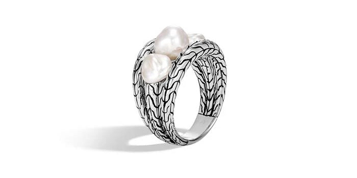 John Hardy Freshwater Pearl Ring in Sterling Silver