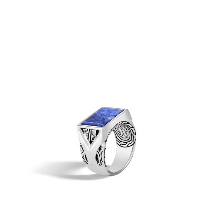 John Hardy Men's Sodalite Asli Link Classic Chain Signet Ring Sterling Silver
