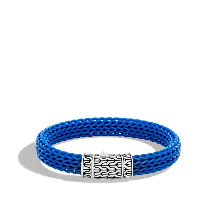 John Hardy Mens Classic Chain Silver 10.5mm Blue Rubber Bracelet with Pusher Clasp Size M