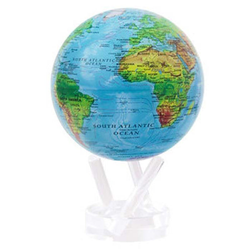 Relief Map Blue 4.5 Globe with 3 Prong Acrylic Base