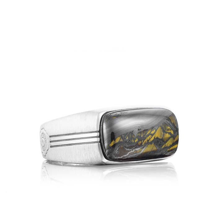 Tacori Mens Sterling Silver Ring with Tiger Iron