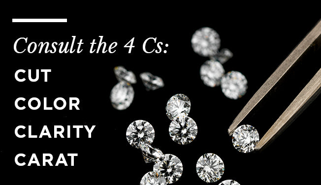 Consult the 4 Cs when buying an engagement ring